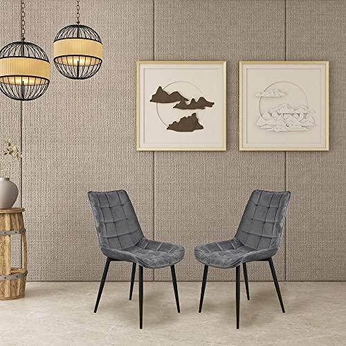 Romatlink Dining Chair Set Of 2, Modern Style Velvet Cushion Seat Soft, Upholstered Side Chairs To The Touch With Solid Wood Legs, Copper Nails, For Kitchen , Dining Room, Furniture