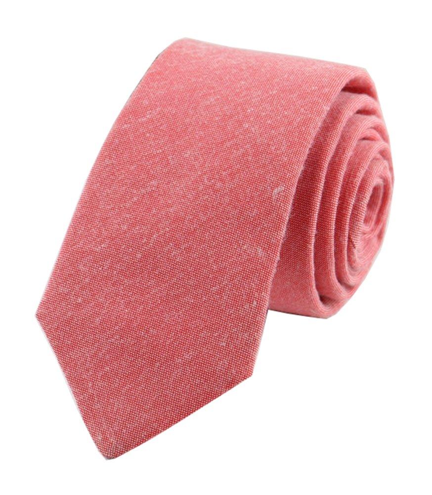 Men's Skinny Coral Tie Watermelon Red Summer Wedding Italian Linen Necktie Gifts