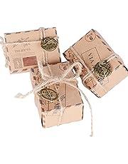 Cajas de Papel Kraft de Caramelo Dulces Bombones Regalos Recuerdos Detalles para Invitados de Boda Fiesta