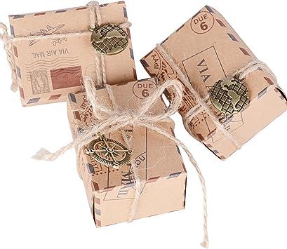 100pcs Cajas de Papel Kraft de Caramelo Dulces Bautizo Bombones ...