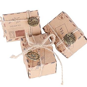 100pcs Cajas de Papel Kraft de Caramelo Dulces Bautizo Bombones Regalos Recuerdos Detalles para Invitados de Boda Fiesta Comunión Graduación ...