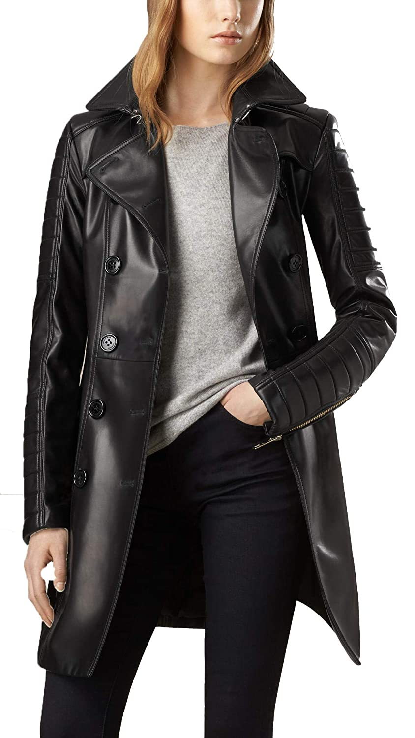 Leather Lust Women's Double Breasted Leather Trench Coat with Belt Black