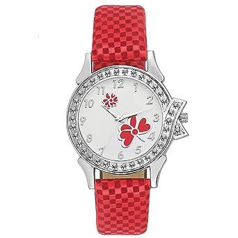 0af83c3b6 Swadesi Stuff Women's Cute Diamond Studded Watch(Red Band, Multicolour  Dial, 09090)