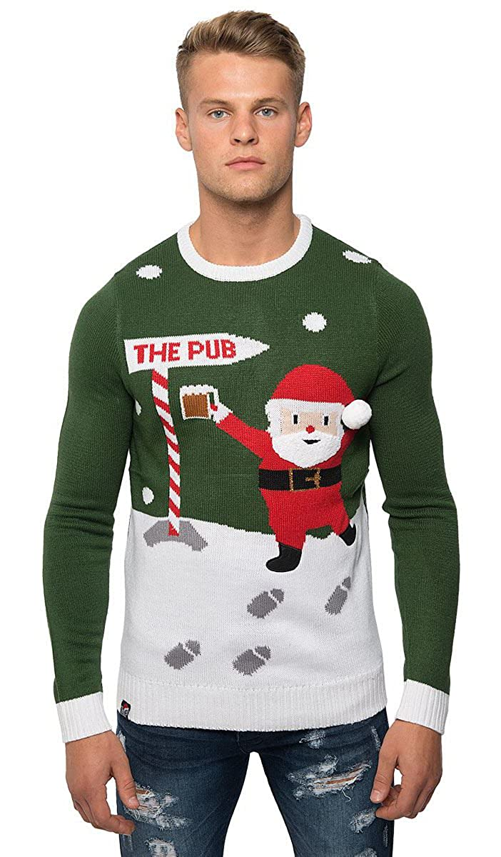 Mens Xmas 3D Novelty Knitted Christmas Jumper Cardigan Sweater Knitwear