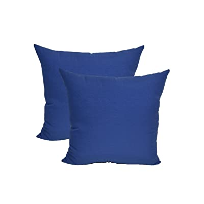 """Resort Spa Home Decor Set of 2 - Indoor/Outdoor Decorative Square Throw/Toss Pillows - Solid Royal/Admiral Blue - Choose Size (17"""") : Garden & Outdoor"""