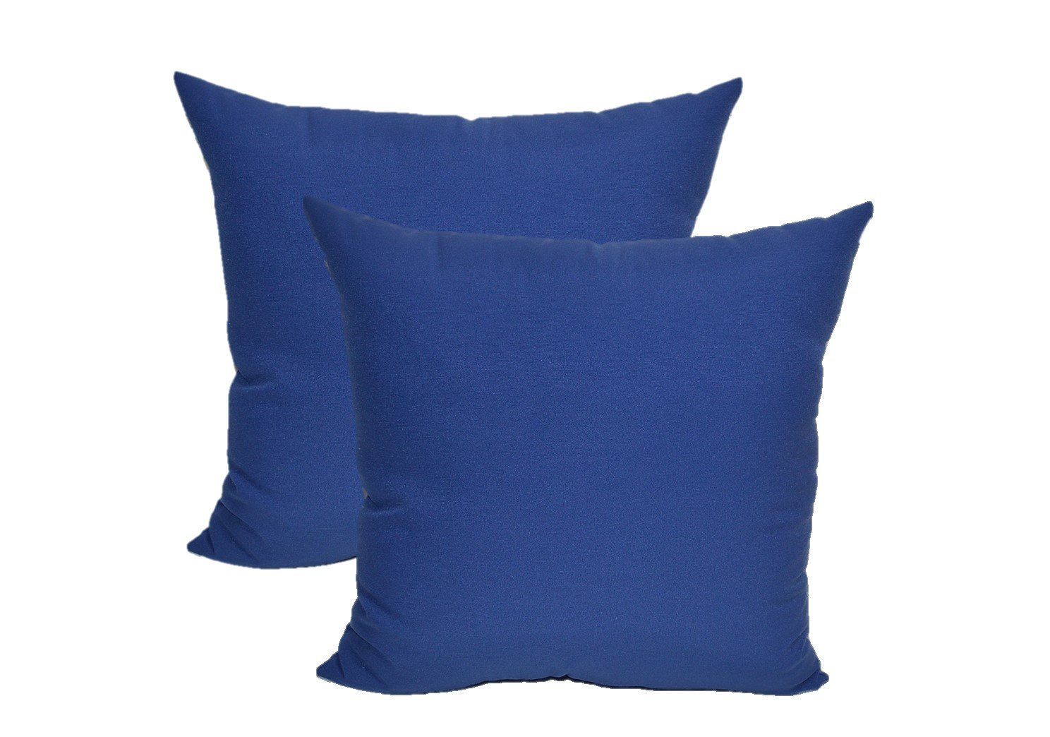 Set of 2 - Indoor / Outdoor Decorative Square Throw / Toss Pillows - Solid Royal / Admiral Blue - Choose Size (20'')