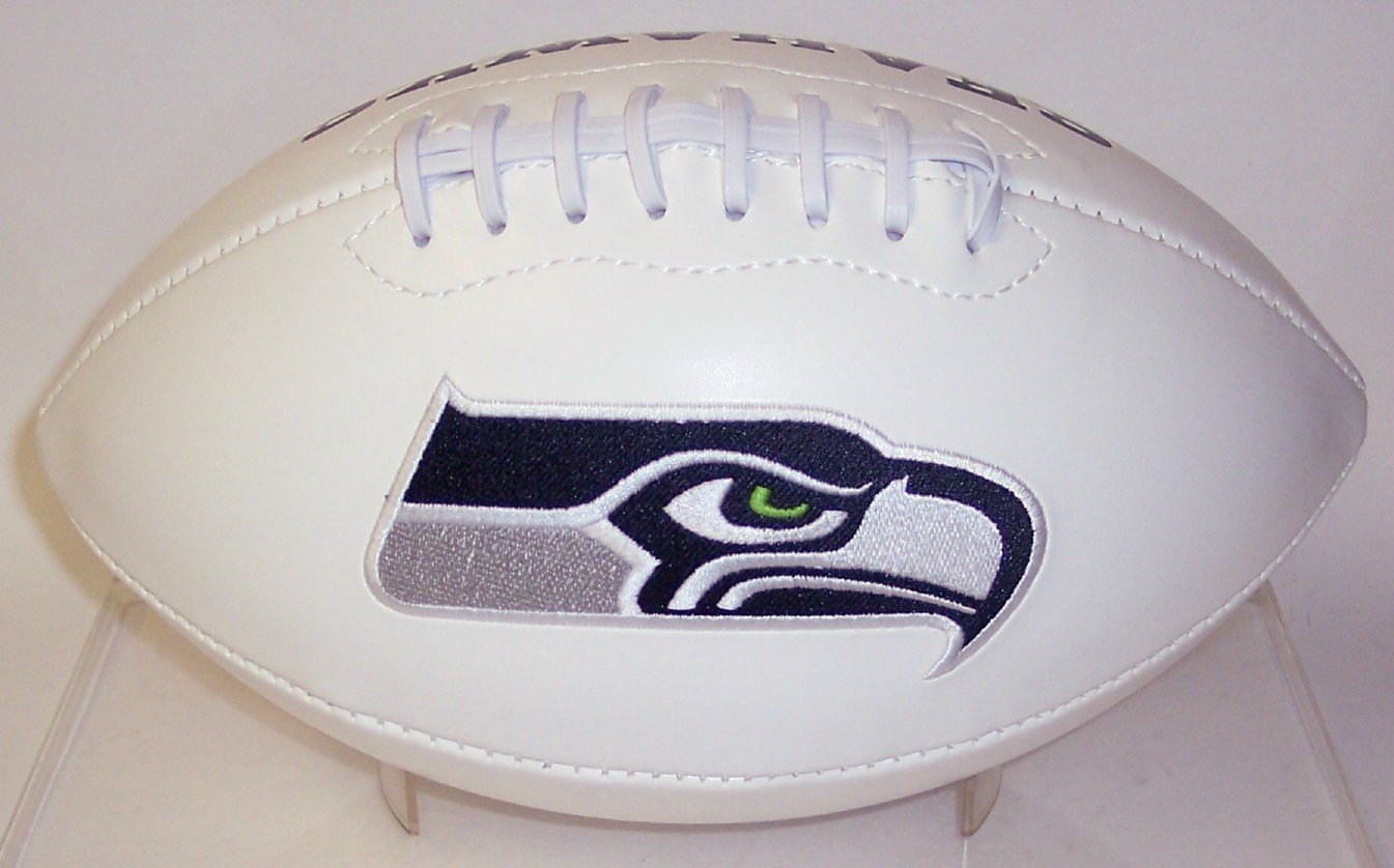 Seattle Seahawks Embroidered Logo Signature Series Full Size Football - with Super Bowl XLVIII logo and final score