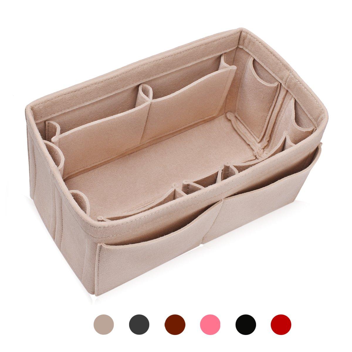 MakeUper Felt Purse Insert Organizer, Handbag Organizer, Bag in Bag, Diaper Bag Organizer, 12 Compartments, 3 Sizes