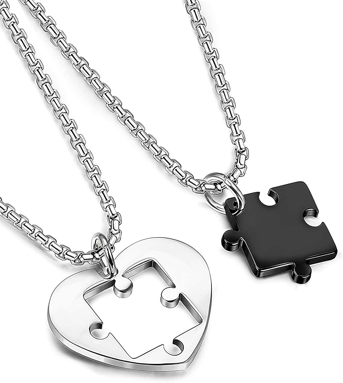 Besteel Acero Inoxidable Collar Amantes con Colgante Puzzle para Hombre Mujer Pareja Corazon Negro y Plata Cadena Rolo 56CM