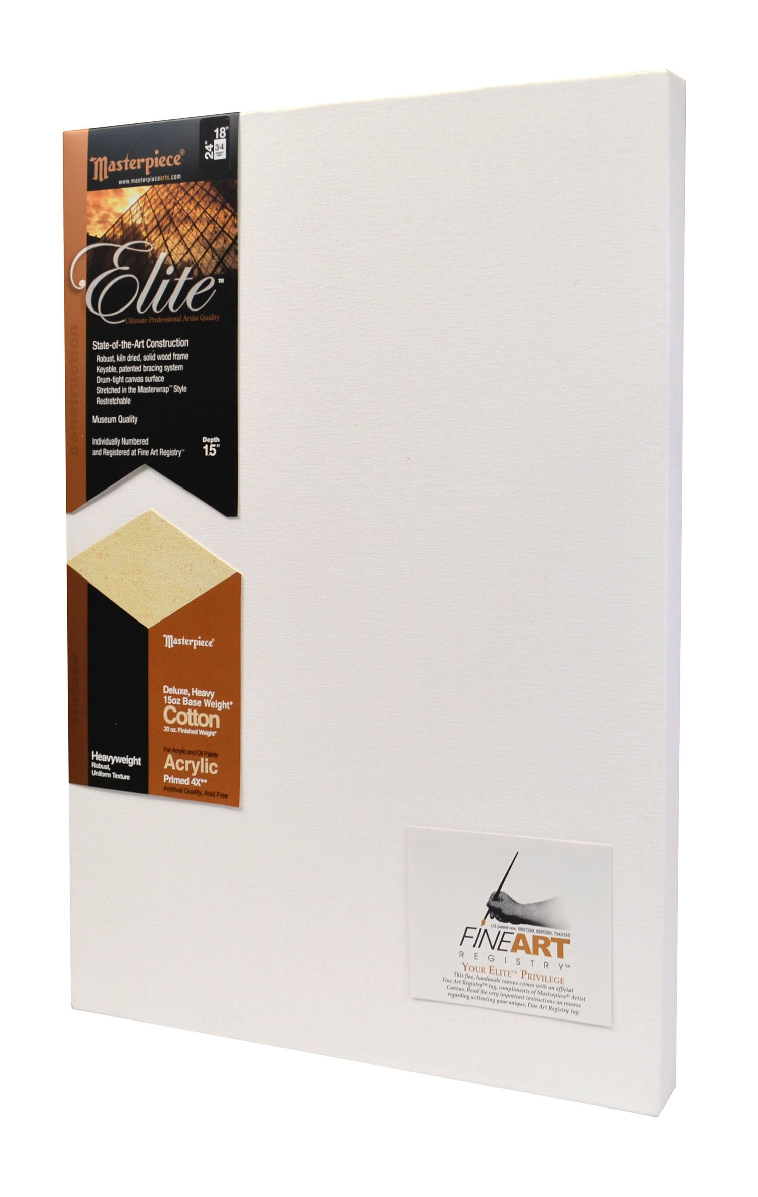 Masterpiece Artist Canvas 34516 Elite 1-1/2'' Deep, 16'' x 16'', Heavy 15-Ounce Acrylic Primed Cotton