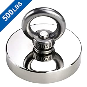 DIYMAG Super Strong Neodymium Fishing Magnets, 500 LBS(227 KG) Pulling Force Rare Earth Magnet with Countersunk Hole Eyebolt Diameter 2.36 INCH(60mm) for Retrieving in River and Magnetic Fishing