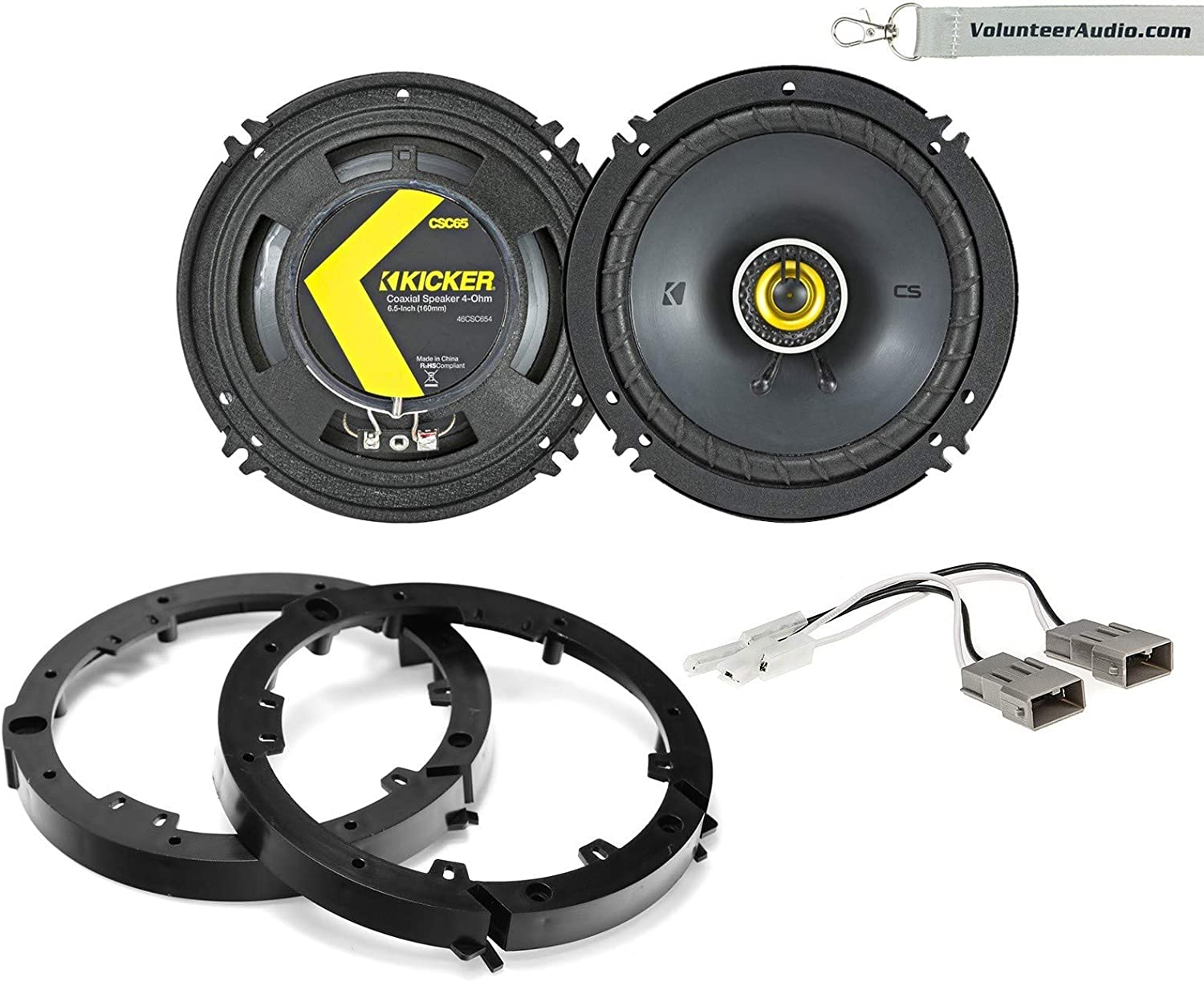Kicker 46CSC654 Package 6-1/2 Inch (6.5) Full-Range Coaxial Speaker 2-Way 100W Fits (Front Speaker Only) 2009-2014 Acura TL, 2006-2011 Honda Civic