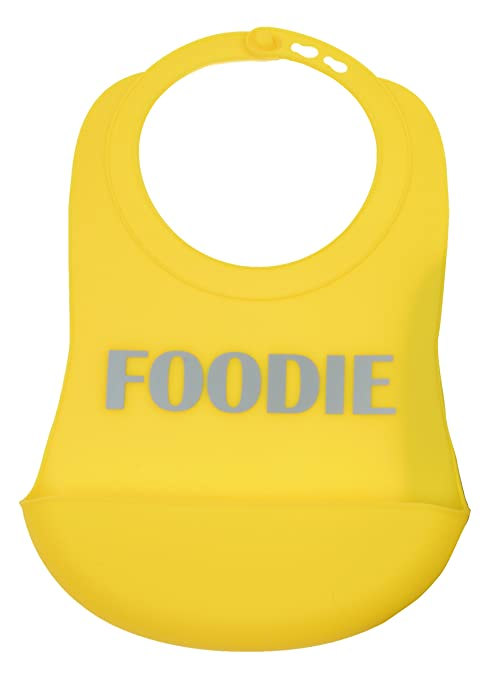 CB EAT by Chewbeads Baby Silicone Bib (2 Pack), 100% Safe Silicone-Foodie Yellow
