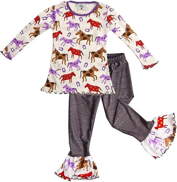 Multi Cheeky Banana Little Girls Horse Print Tunic Top /& Denim Ruffle Leggings
