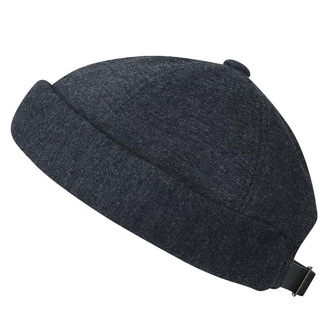 ililily Solid Color Cotton Short Beanie Strap Back Casual Hat Soft ... a71d666ec78