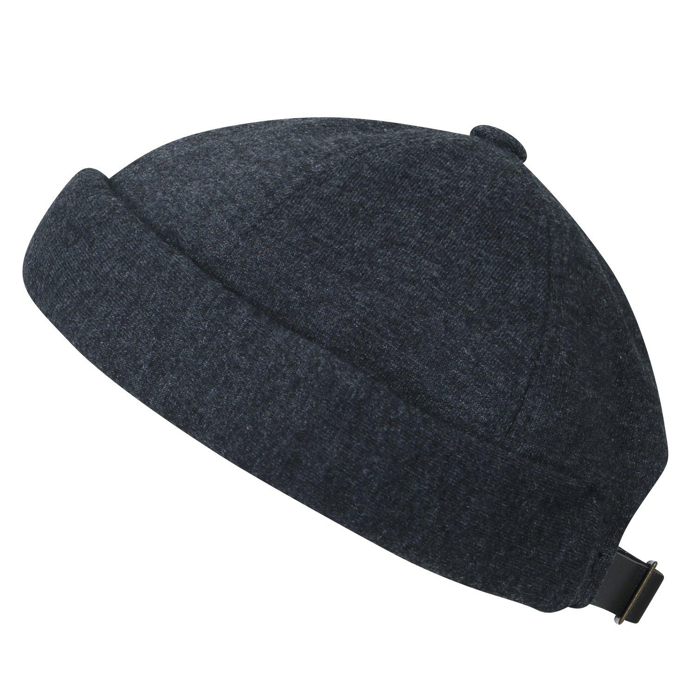 ililily Solid Color Cotton Short Beanie Strap Back Casual Hat Soft Cap, Dark Grey