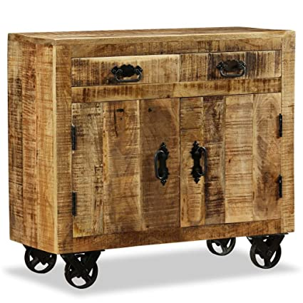 Festnight Industrial Buffet Sideboard Wood Storage Cabinet, 2 Drawers 1  Cabinet Wheels Rough Mango Wood