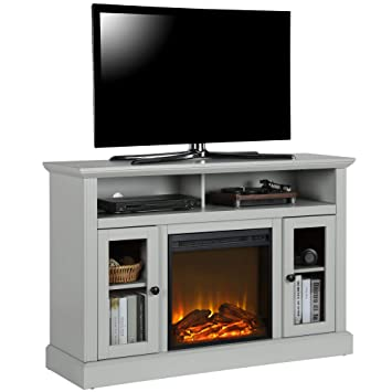 Ameriwood Home 1764412com Chicago Tv Stand With Fireplace Dove Gray