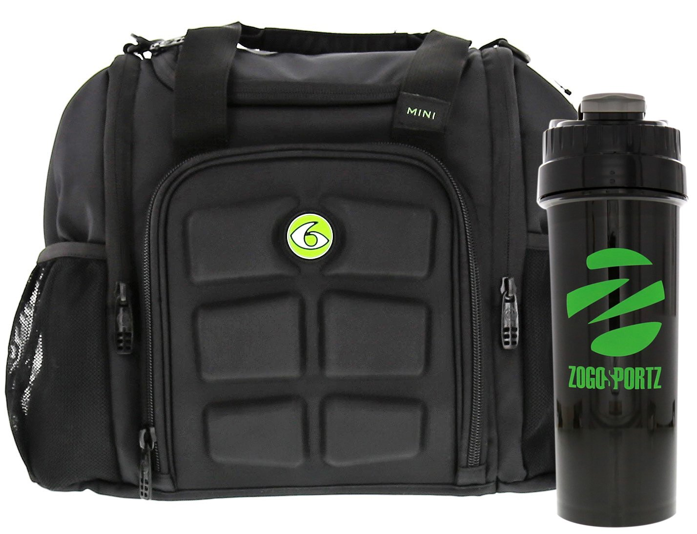 6 Pack Fitness Insulated Meal Prep Bag, Mini Innovator Black/Neon Green w/Bonus ZogoSportz Cyclone Shaker, Meal Prep Bag