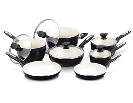 89d5498b3385 Image Unavailable. Image not available for. Color: GreenPan Rio 12pc Ceramic  Non-Stick Cookware Set ...