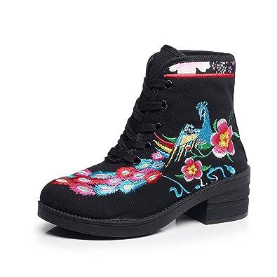 Women's Phoenix Embroidery Horseshoe Heel Retro Boots