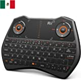 Rii i28C Wireless keyboard(layout Español) - Mini inalámbrica teclado ergonómico retroiluminado con doble ratón touchpad para Smart TV, Mini PC Android, , Pad, Andriod TV Box, Google TV Box, Raspberry PI, KODI XBMC TV, PS3, HTPC/IPTV, etc