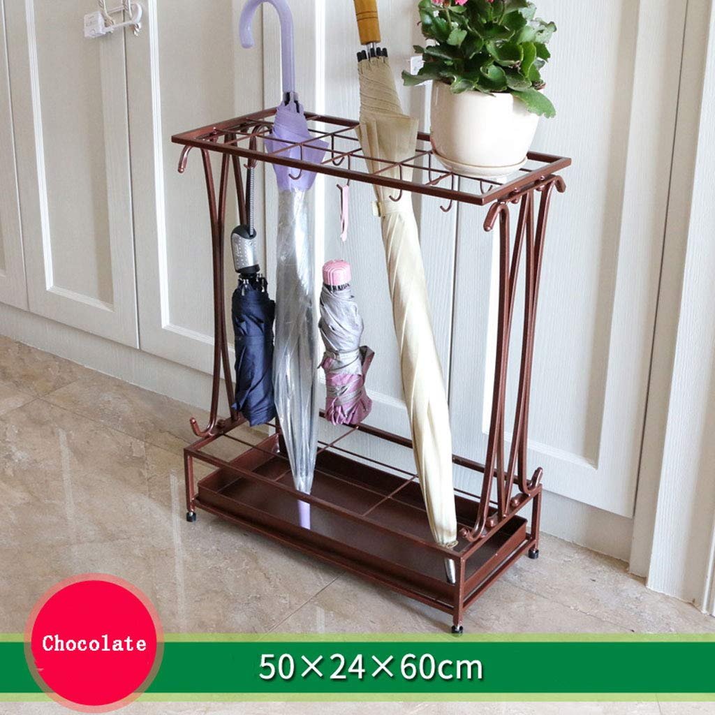 CS 18 Holes and 10 Hooks Iron Art Umbrella Stand Hotel Lobby Home Creative Flooring Rain Umbrella Place Storage Shelf (Color : Chocolate Color)