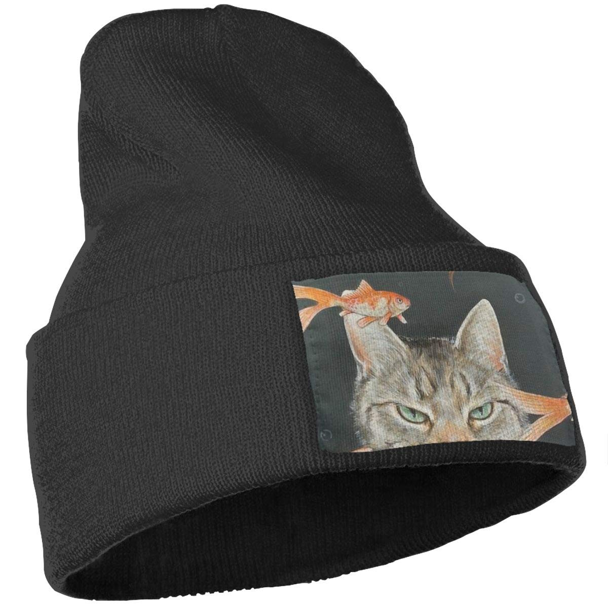 Painting Cat Hat for Men and Women Winter Warm Hats Knit Slouchy Thick Skull Cap Black