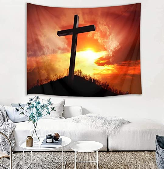 LB Jesus Christian Tapestry Wall Hanging Jesus Cross at Sunset Tapestry Wall Art Religion Tapestry Backdrop for Bedroom Living Room Dorm Wall Decor,92.5Wx70.9H inches
