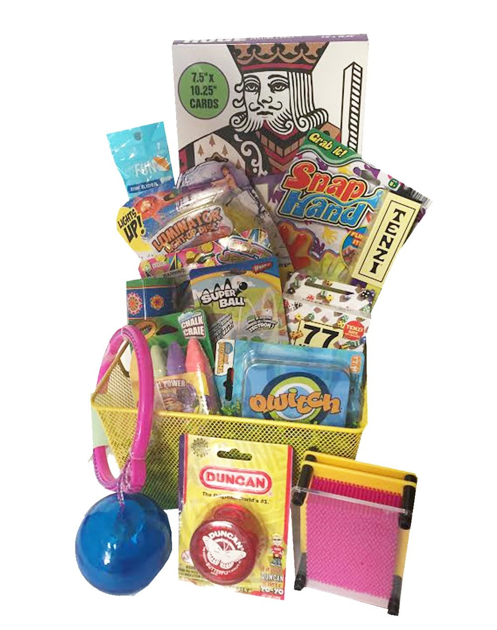 Girl's ''Yay for Summer!'' Outdoor Fun Gift Basket with Qwitch, Tenzi Dice Game and 77 ways to Play Tenzi Instructions, Jumbo Playing Cards - ideas for Easter Gift Basket for Girls Teens Tweens