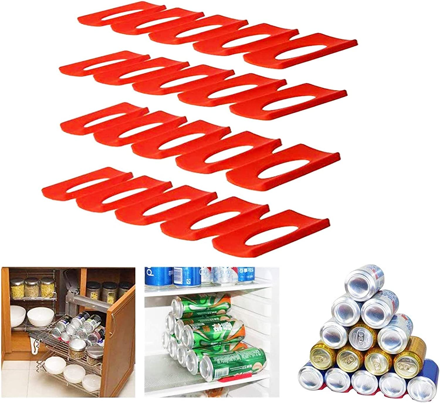 FashionMall 4 Pcs Foldable Silicone Wine Stacker Set,Beer Can Rack Wine Bottle Holder for Refrigerator Cabinet (4 Pcs)