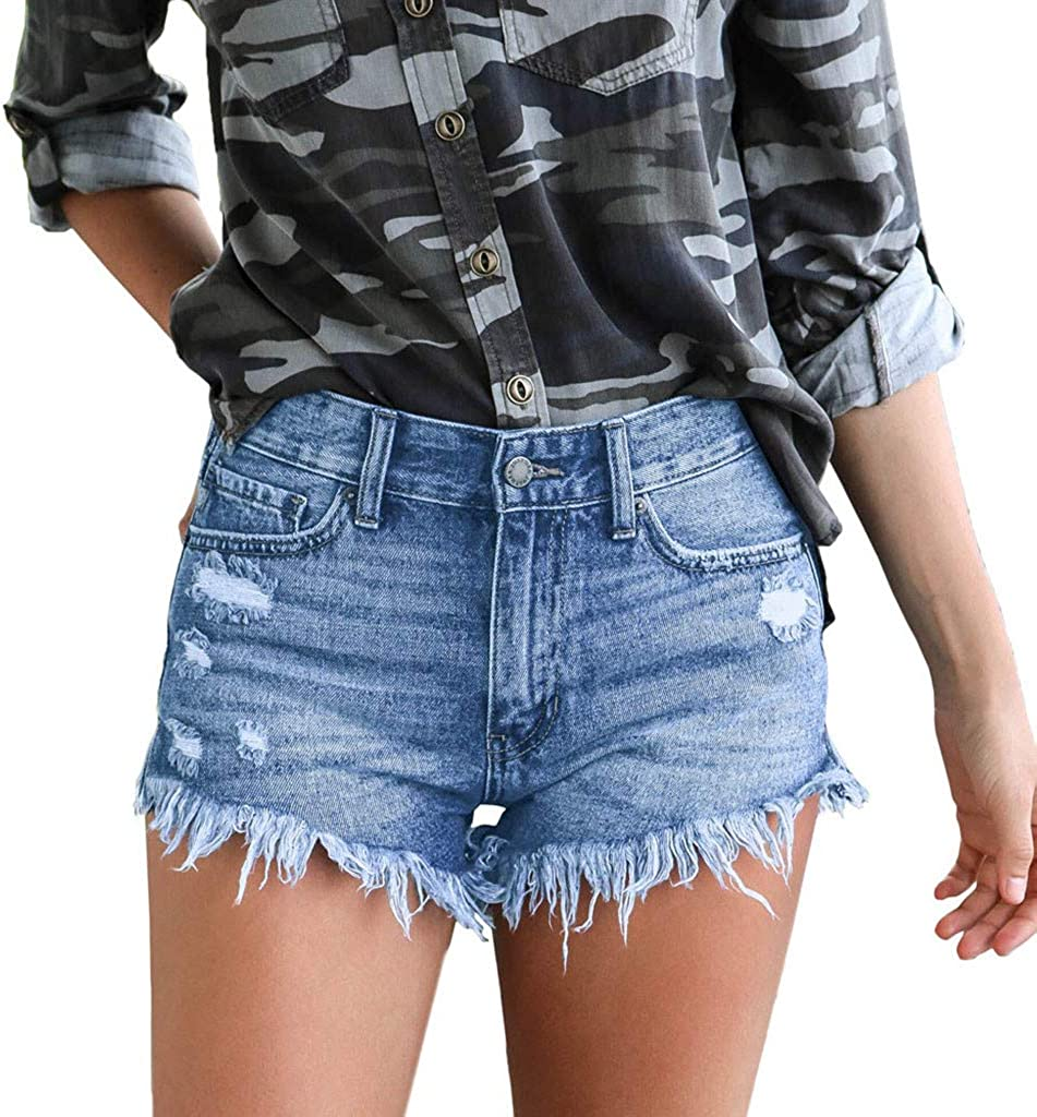 aihihe Women Teen Girls Denim Hot Shorts Casual Summer Mid Waisted Frayed Destroyed Ripped Short Jeans with Pockets