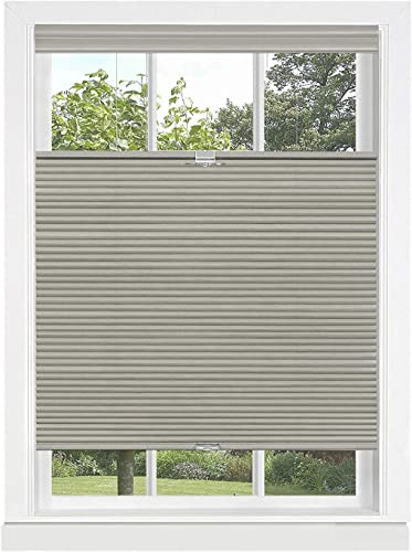 PowerSellerUSA Cordless Window Blinds Cellular Top-Down Bottom-Up Honeycomb Pleated 3 8 Light Filtering Window Shades Gray, 31 x 64