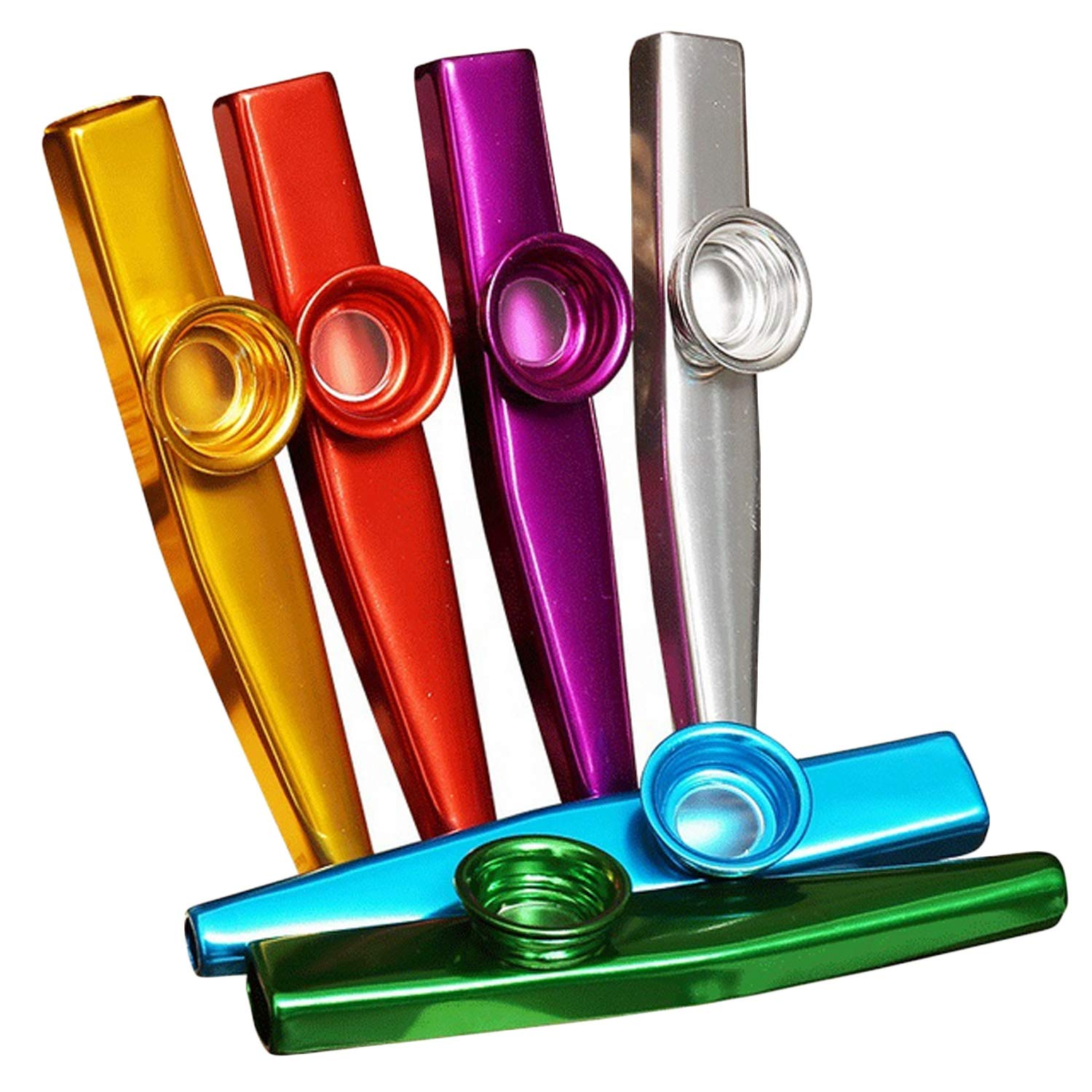 6pcs Mini Colorful Metal Kazoo for Acoustic Instrument Guitar Ukulele Violin Piano Companion Performance Child Toys Gifts Early Learning Migavan M433180028