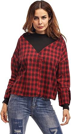 Manga Larga Cuello Alto Bloque de Color Plaid Cuadros Sudadera Sweatshirt Blouse Blusón Blusa Shirt Camisa T-Shirt Camiseta Playera tee Cuadrada Top Rojo Negro: Amazon.es: Ropa y accesorios