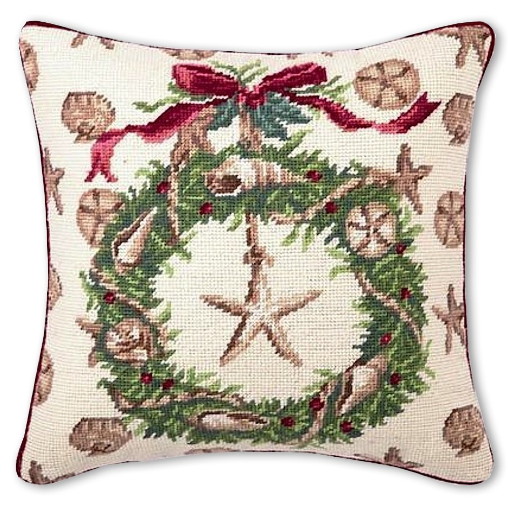 Amazon.com: Christmas Pillow   Beach Needlepoint Pillow   Suzanne ...