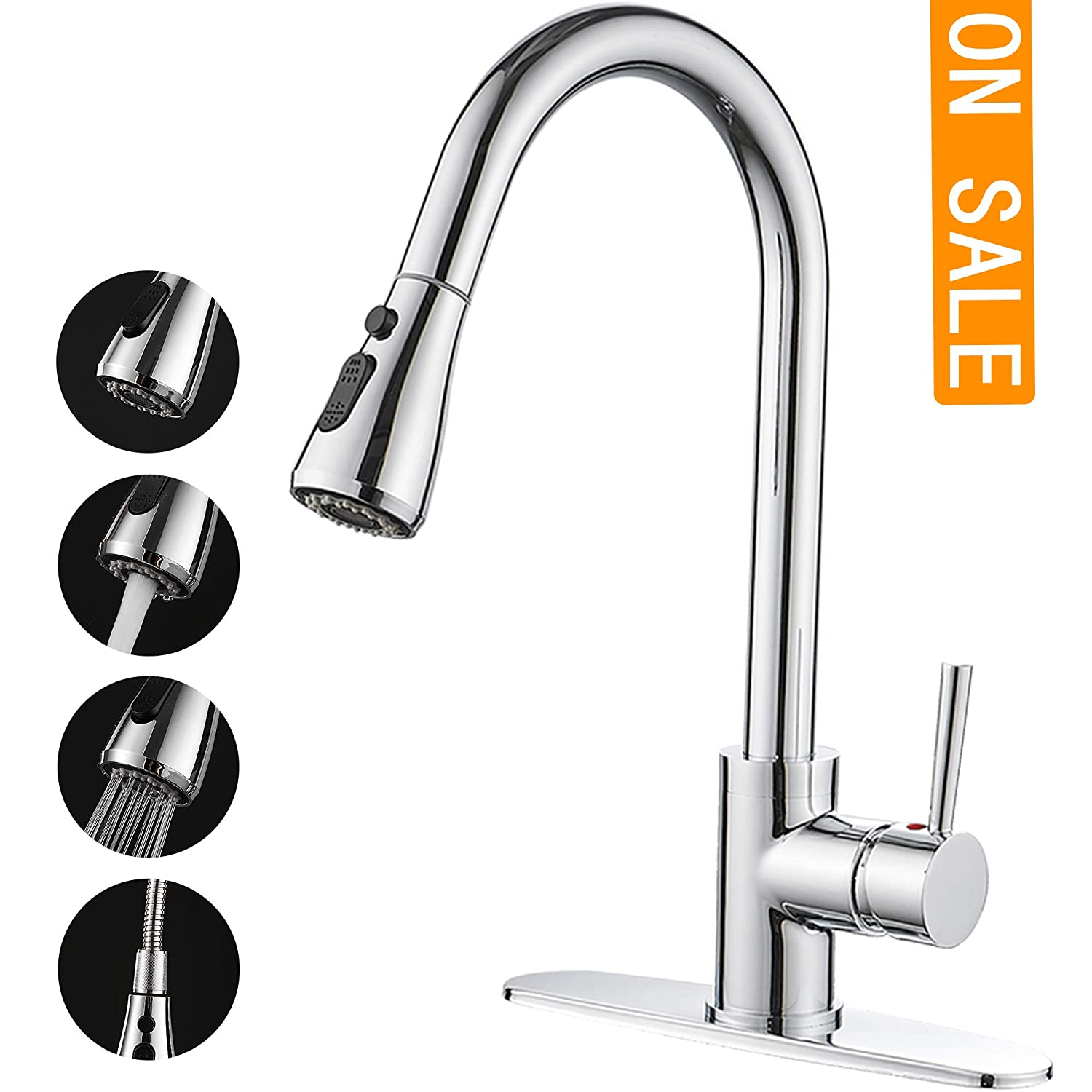 DOFASY Polished Chrome Kitchen Sink Faucet with 3 Function Pull Down Sprayer Solid Brass Single Handle High Arc Pull Out Kitchen Faucet Single Level Stainless Steel Faucets with Deck Plate 1 or 3 Hole