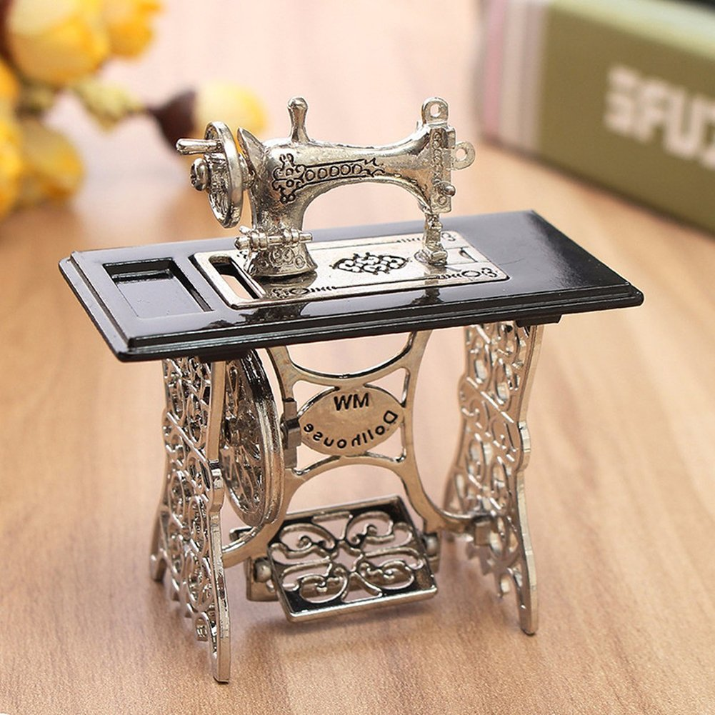 Amazon.com: Mini Miniature Sewing Machine for 1/12 Scale Dollhouse DIY Decoration Gift: Home & Kitchen