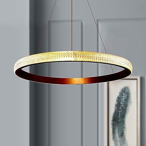 Leniure Modern Gold Circular LED Light Pendant Lamp Chandelier Lighting Fixture 24 Wide 1.6 High, Warm White 3000K