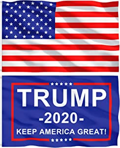 Trump Flags 3x5 Outdoor Double Sided, HOMETALL 2020 Donald Trump Flag for Boat Car Garden Flag, Keep America Great Flag, 3x5 Ft (2 Pack)