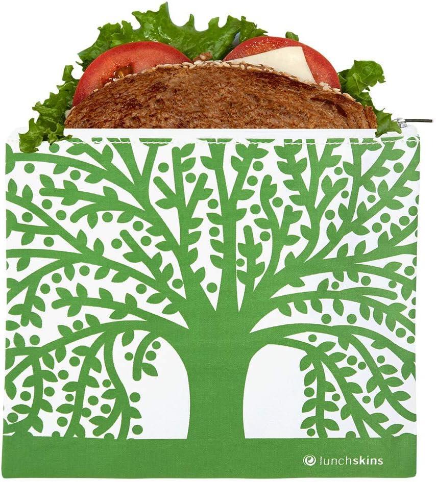 Lunchskins Reusable Zippered Sandwhich Food Bag, Sandwich, Green Tree