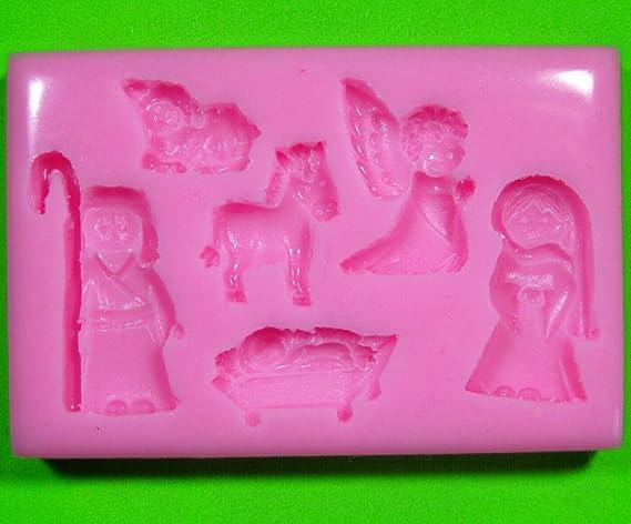 Natividad de la escuela Navidad Molde de silicona para la torta de Decoración Pastel de Cupcake Toppers Glaseado Sugarcraft Tool por Fairie Blessings: ...