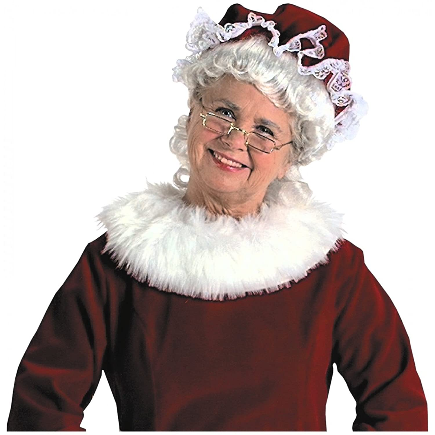 Mrs. Claus Dark Red Velvet Mop Cap