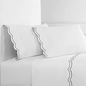 Melange Home Percale Cotton Double Scalloped Embroidered FL Sheet Set, Full, Charcoal on White