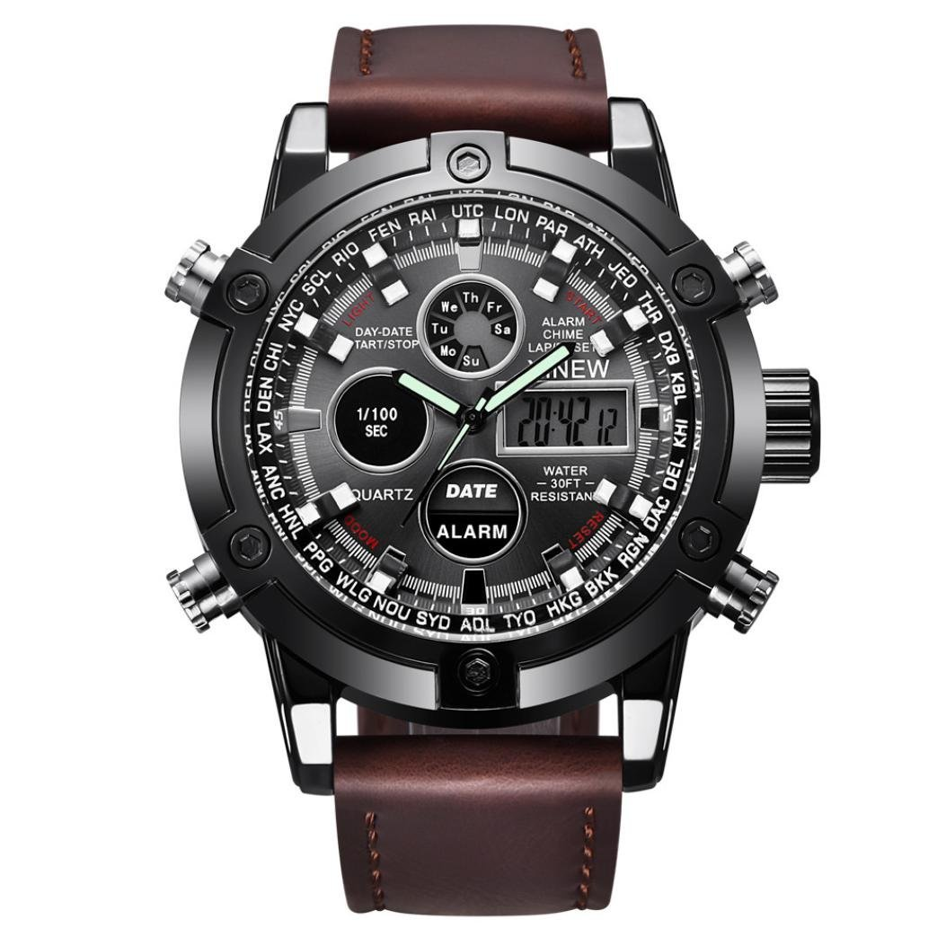 Axiba Luxury Dual Movt Men's Leather Quarz Analog Digital LED Sport Wrist Watch (C) by Axiba
