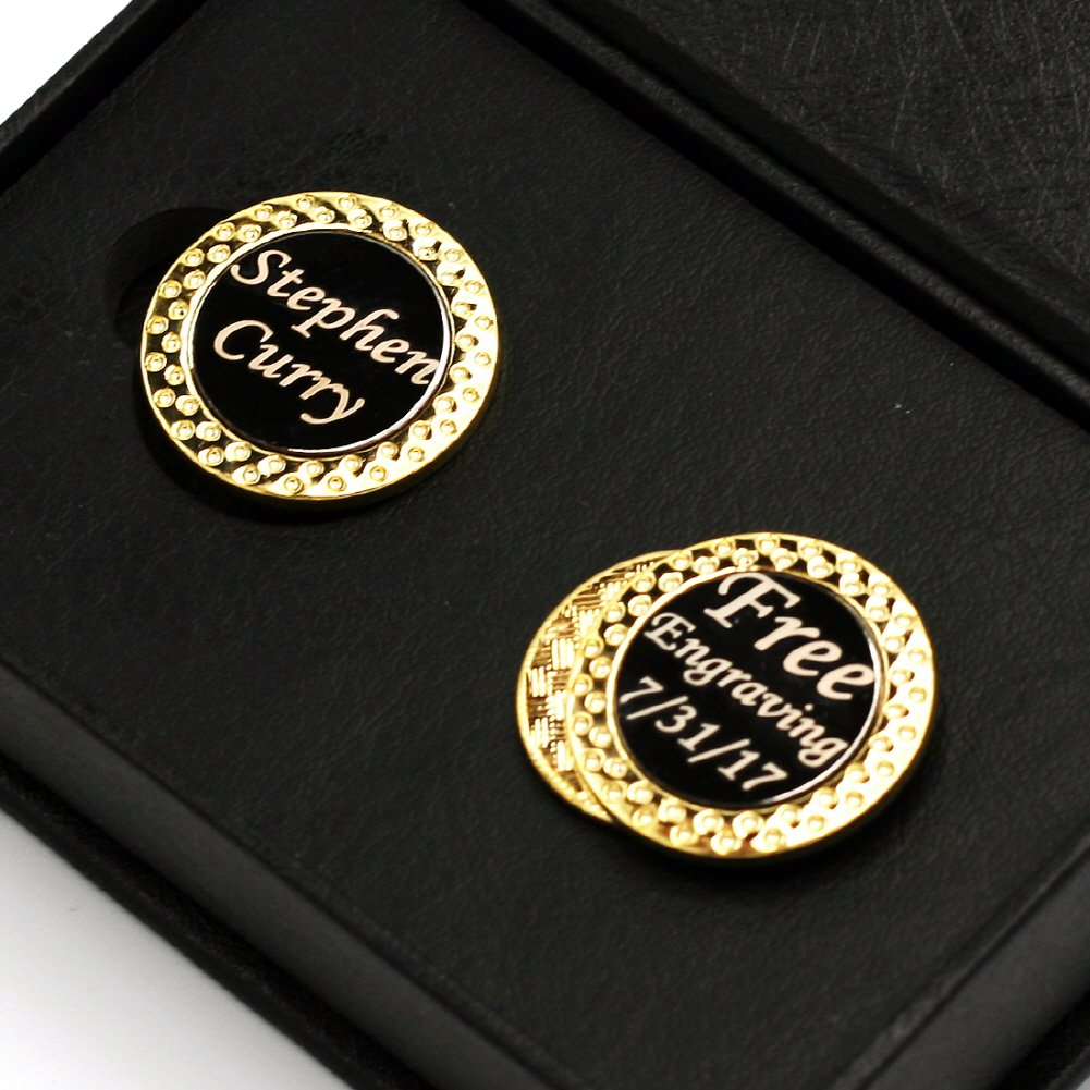 DENVER GIFT Free Engraving - Gold 2 Sets of Golf Ball Markers with Magnetic Golf Hat Clip, Premium Golf Gifts for Men by Womens, Free Customization