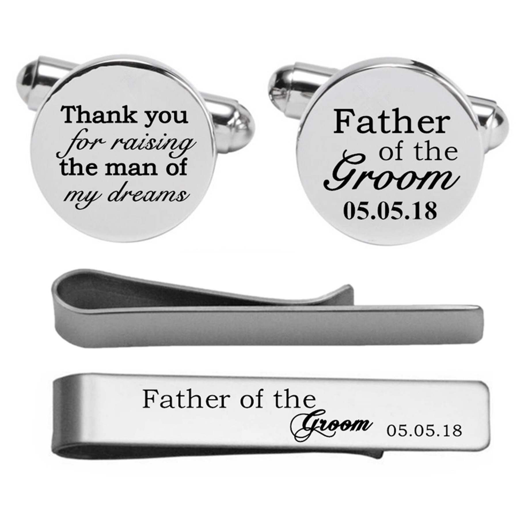 Kooer Engraved Cuff Links For Father of the Groom Custom Personalized Cuff Links Vintage Wedding Jewelry (Silver plated cufflinks)