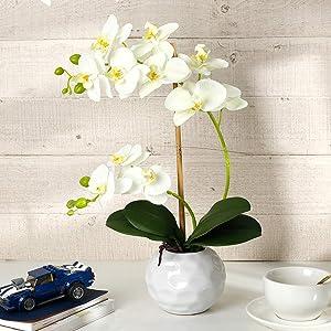 LIVILAN White Orchid Artificial Flowers Faux Orchid Plant White Orchid Flower with White Ceramic Pot Artificial Flowers Arrangement for Home Decoration Orchid Plants Wedding Party Table Centerpieces