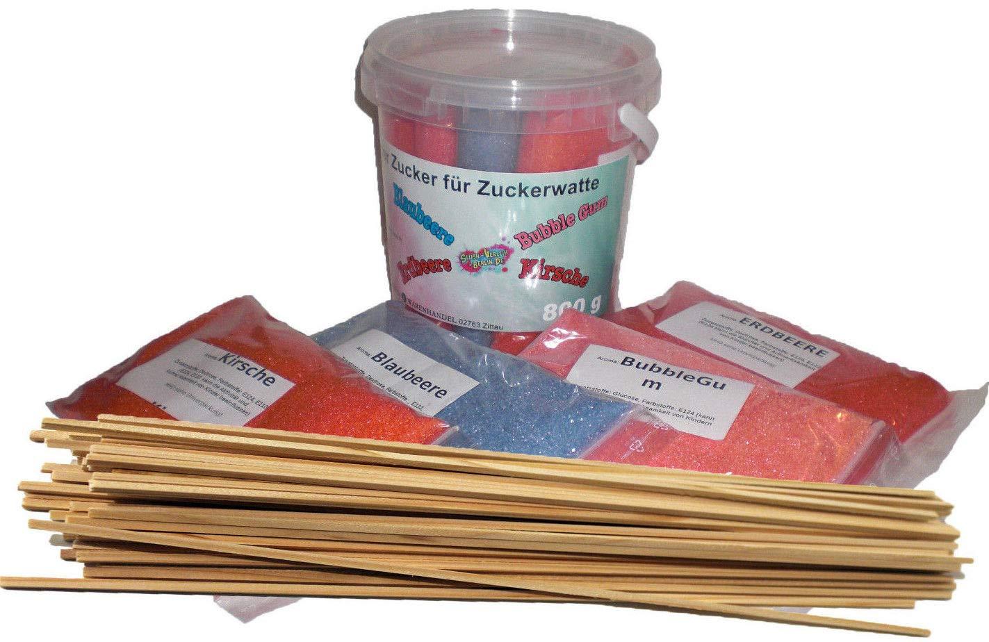 Zucker für bunte Zuckerwatte mit Geschmack 4x200g - Kirsche - Erdbeere - Blaubeere - Bubble Gum + 50 Zuckerwattestäbe/Perfekt für jede Zuckerwattemaschine geeignet   800 Gramm gesamt
