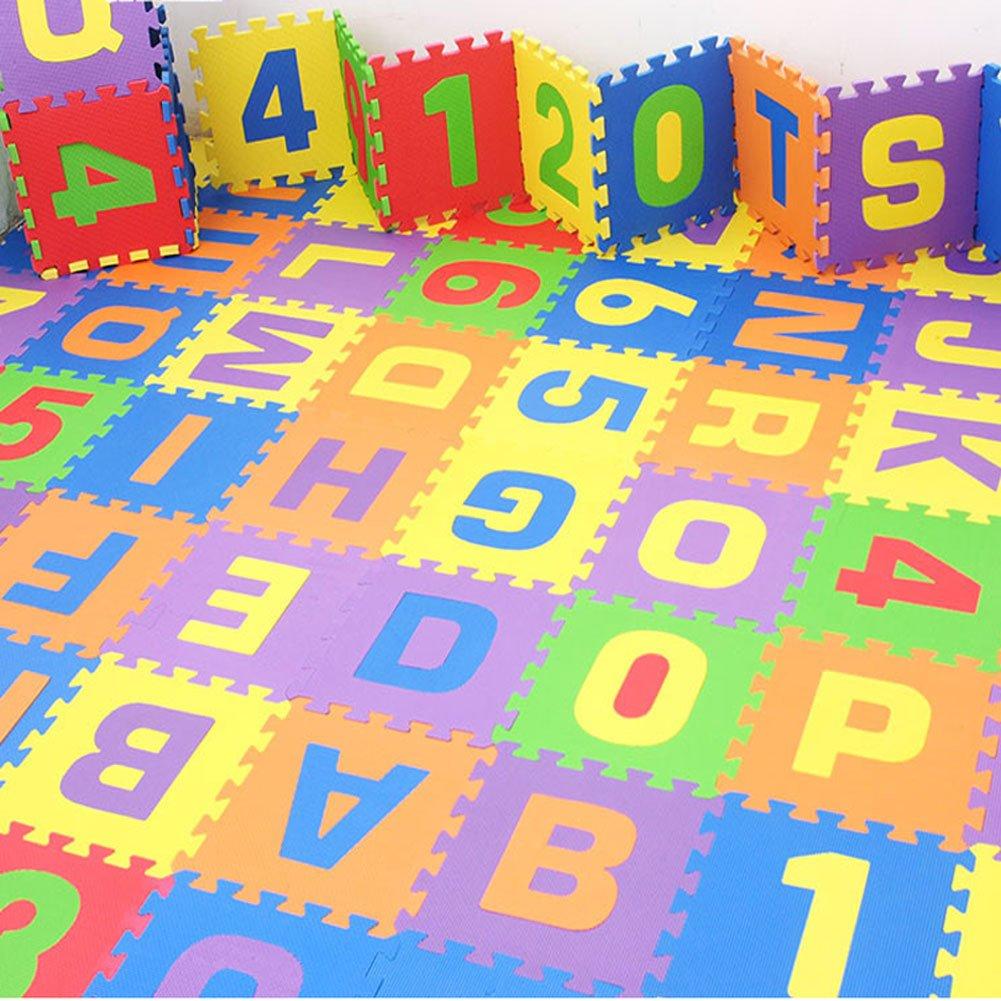 Puzzle Play Mat,Foam Floor Play Mat,Foam Interlocking Tiles,Alphabet & Number Foam Puzzle Mat,NON-TOXIC EVA 36 Piece Multi-Color Children Play & Exercise Mat (Large) (Large) by Chuanyue (Image #7)